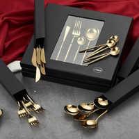 24 pièces KuBac Hommi luxe en acier inoxydable doré ensemble de couverts en or brillant avec boîte-cadeau de luxe livraison directe