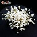 DuoTang Romântico Camisola Enfeites de Strass Pinos Cachecol Broches Corsage Elegante Pérola Broches de Flores Para As Mulheres J