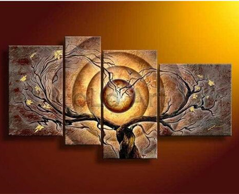 4 Panel Canvas Pictures Modern Home Decor Wall Art Handmade Paintings Handpainted Abstract Tree & Flowers Brown Oil Painting-in Painting & Calligraphy from Home & Garden    1