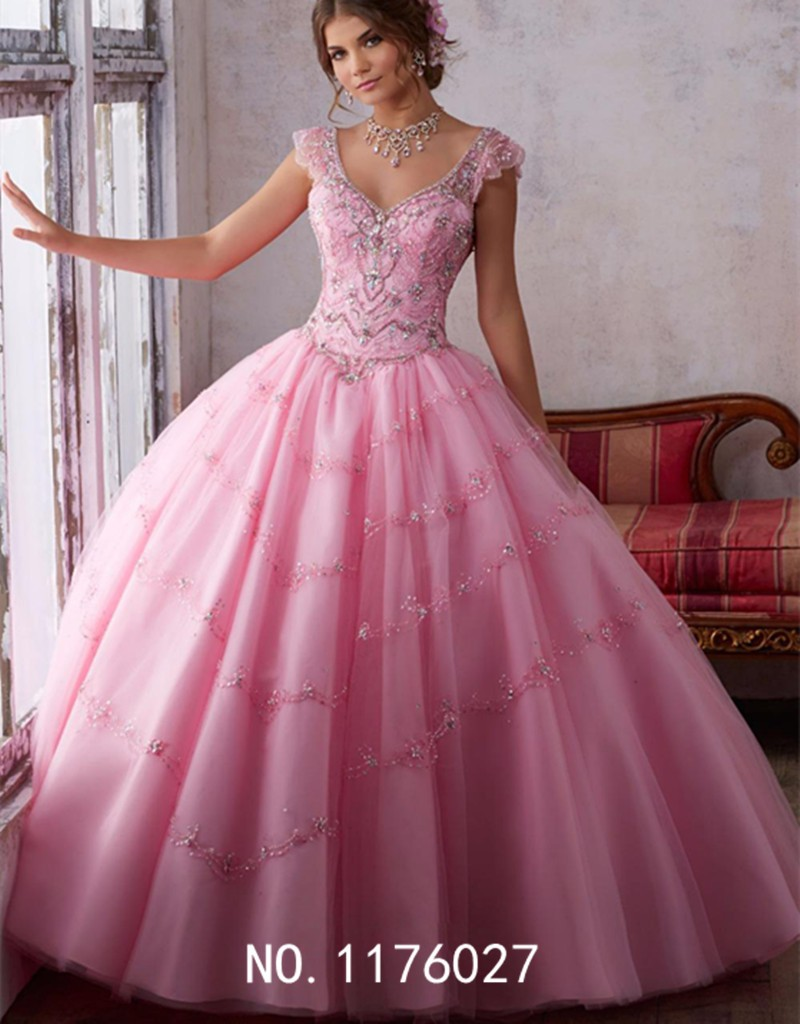 eb94373f6b38 2017 New FashionSweety Pink Cap Sleeves Quinceanera Ball Gown With ...
