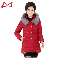 Middle Aged Women Jackets Winter Warm Hooded Coats Female Long Cotton Padded Thick Plus Size 5XL