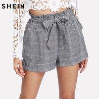 SHEIN Grey Woman Shorts Spring Summer Straight Leg Bottom Mid Waist Casual Self Belted Plaid Hot