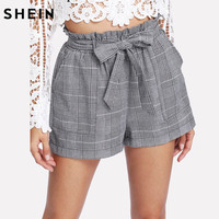 SHEIN Grey Woman Shorts Spring Summer Straight Leg Bottom Mid Waist Casual Self Belted Plaid Hot