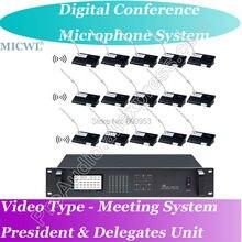 Classic Video Type Wireless Digital Microphone Conference System Desktop 30 Gooseneck Mic 1 President +29 Delegates Desk Unit