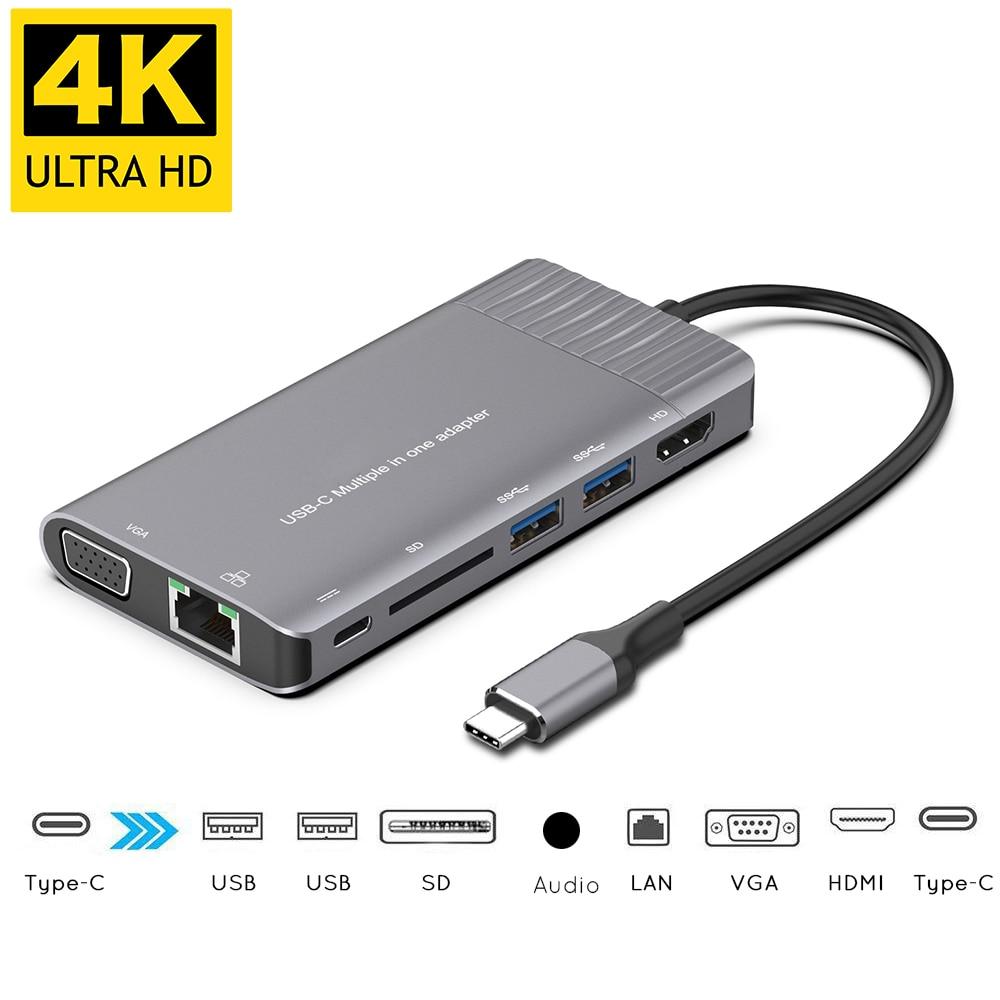 USBC to 1000M Rj45 Gigabit Ethernet Hub HDMI 4K VGA SD 3 5mm Audio PD Charging