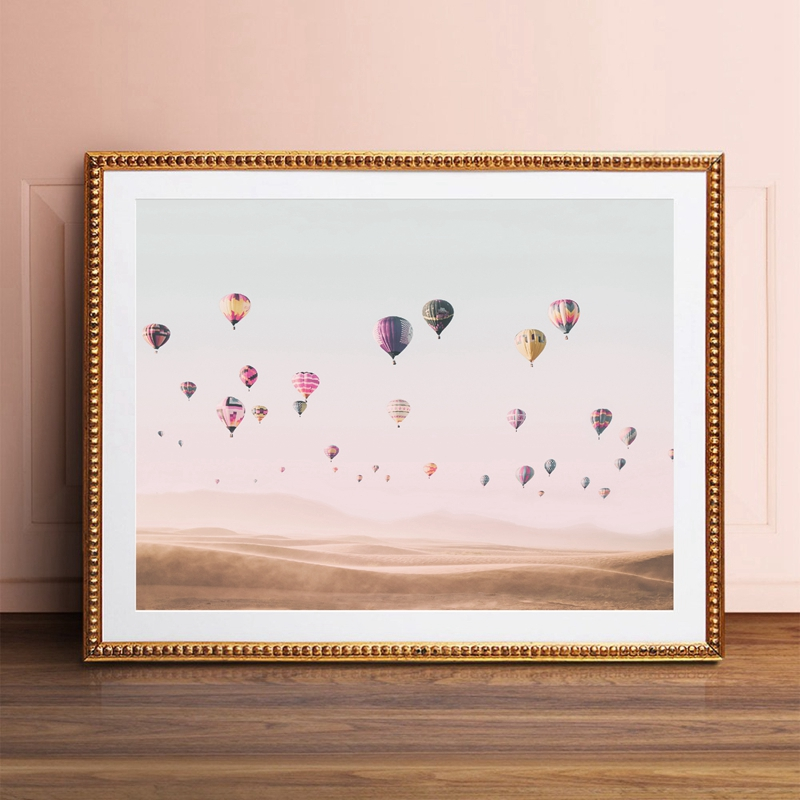 Hot Air Balloon Print Modern Boho Desert Landscape Poster Living Room Wall Art Canvas Painting Bohemia Wall Picture Home Decor
