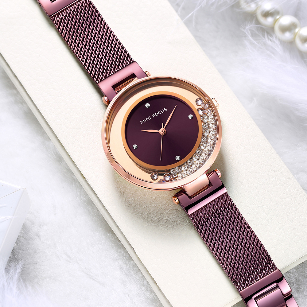 Elegant Women Watches Top Brand Luxury Ultra Thin Quartz Clock Crystal Iced Out Mesh Strap Waterproof Casual Dress Ladies Watch