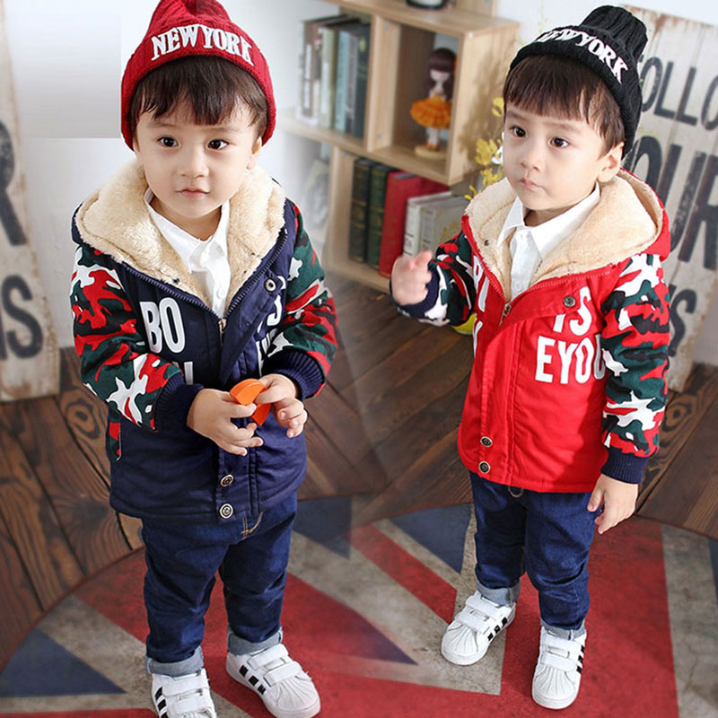 все цены на  Winter boy kid clothes thick hooded cotton jacket coat for little boy child clothing outerwear camouflage wind jacket coat parka  онлайн