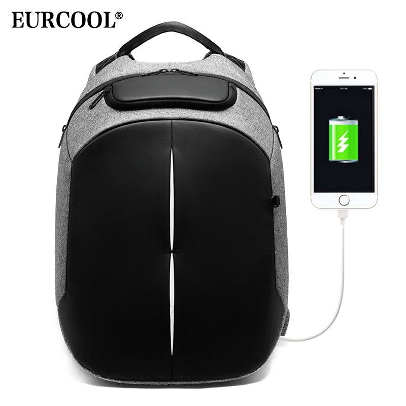 Bagaj ve Çantalar'ten Sırt Çantaları'de EURCOOL Erkek seyahat sırt çantası İşlevli Büyük Kapasiteli Çanta USB Şarj 15.6 inç Laptop Sırt Çantaları Su Geçirmez n0005'da  Grup 2
