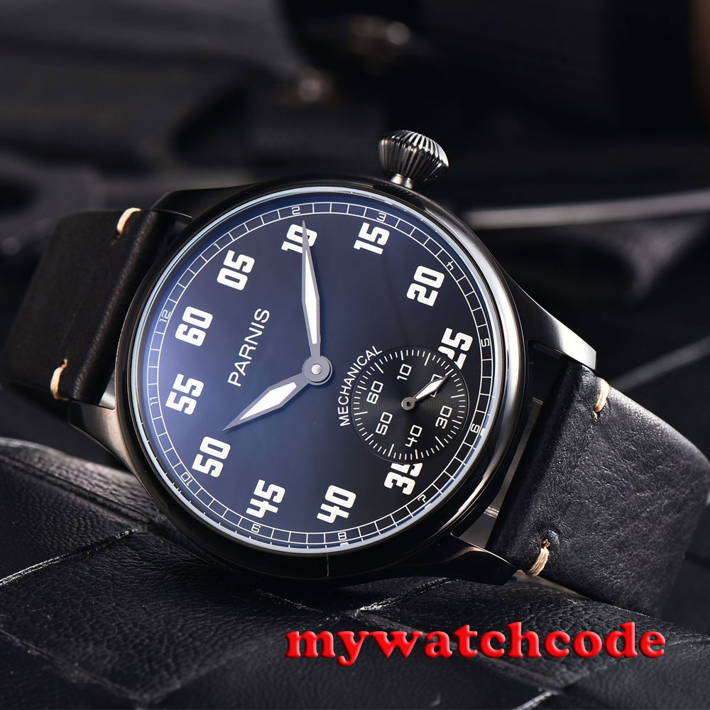 купить 44mm parnis black dial luminous PVD case 6498 movement hand winding mens watch по цене 6282.97 рублей