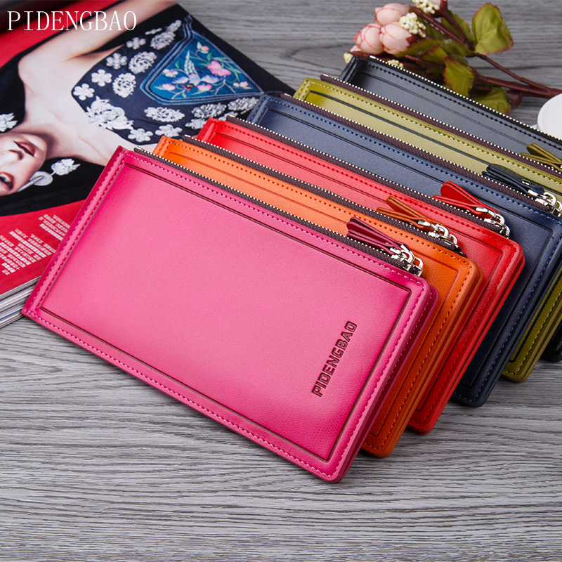 PIDENGBAO Fashion Oil Wax Skin Women Wallet PU Leather Card Ultra Thin Zipper Poucht Multifunction Female