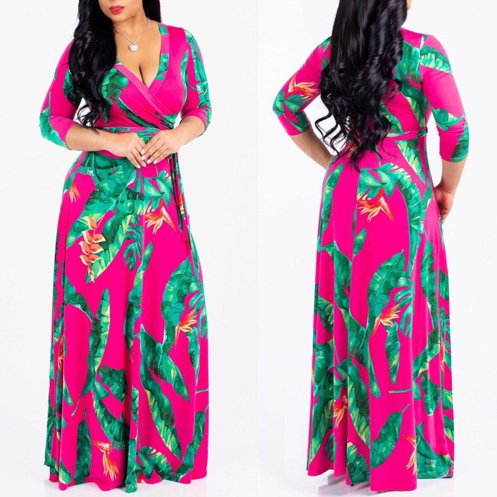 8102415e3663b Boho Long Maxi Dress Yellow Tropical Beach Vintage Maxi Dresses V ...
