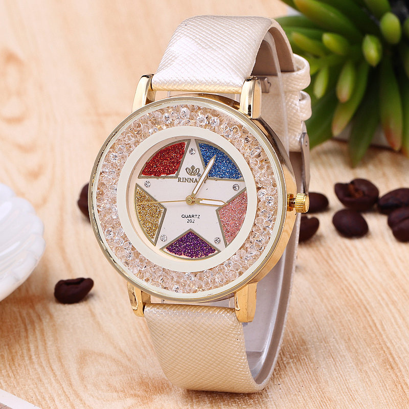 Colorful Five-Pointed Star Crystal Ball Big Dial Women Watches Shiny Beige Leather Ladies Watch RINNADY Relogio Feminino boodinerinle plus size women five pointed star letter pattern zipper pocket big fur collar coat jaqueta feminina inverno my080