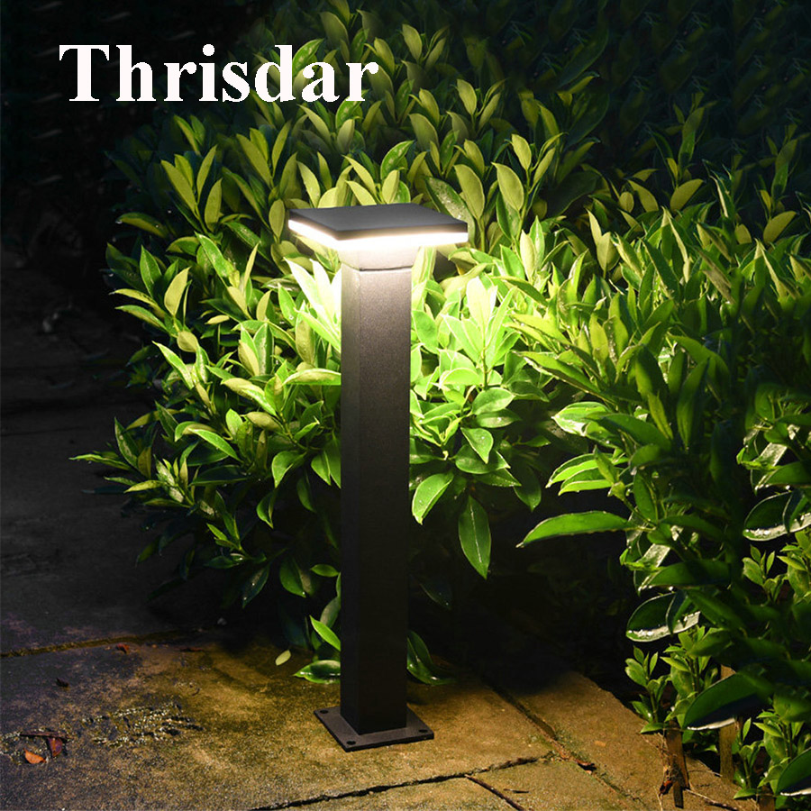 цена Thrisdar 10W Outdoor Garden Villa Path Post Lawn Light Aluminum Waterproof Landscape Park Lawn Bollard light floor Stake Light
