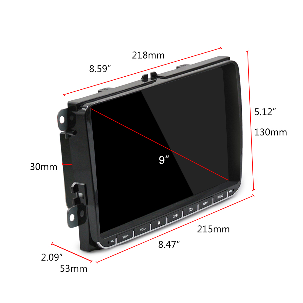Hikity 2 Din 9″ Android Car GPS Navigation for VW Passat Golf MK5 MK6 Jetta POLO Touran Seat CANBUS WIFI Mirror Link Autoradio