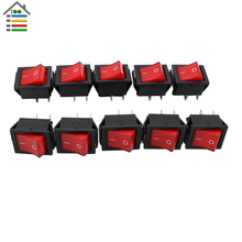 Free Shipping 10Pcs DIY RED 16A MAX 250V LED Dot Light Car Boat Round Rocker ON/OFF SPST 4 Pins Toggle Button Switch Electrical