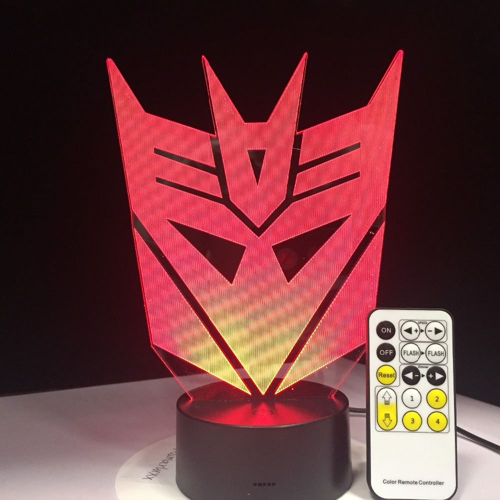 Transformers Mask 3D LED Night Lights Atmosphere Table Lamp 7 Colors For Children Bedroom Touch Remote Control Decorative Lamp