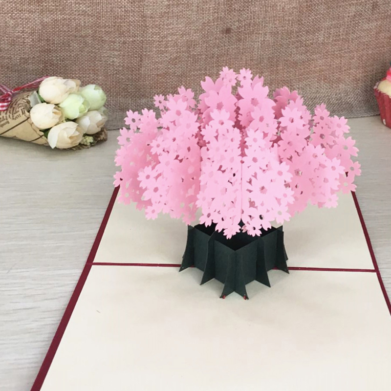 1pcs Laser Cut Kirigami 3D Pop UP Greeting & Gift Cards Gorgeous Cherry Blossoms Handmade Creative Thank You Cards Teachers' Day (2)