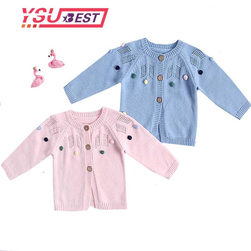 2019 cárdigan de bebé recién nacido suéter de punto nuevo traje de otoño dulce puro tarjeta vestido Top color Handball chaqueta recién nacido niña suéteres