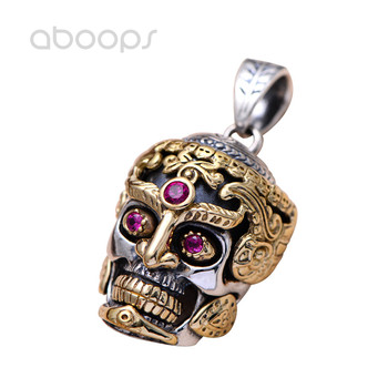 Punk Big Two Tone 925 Sterling Silver Skull Head Necklace Pendant Inlaid Red Corundum for Men Free Shipping