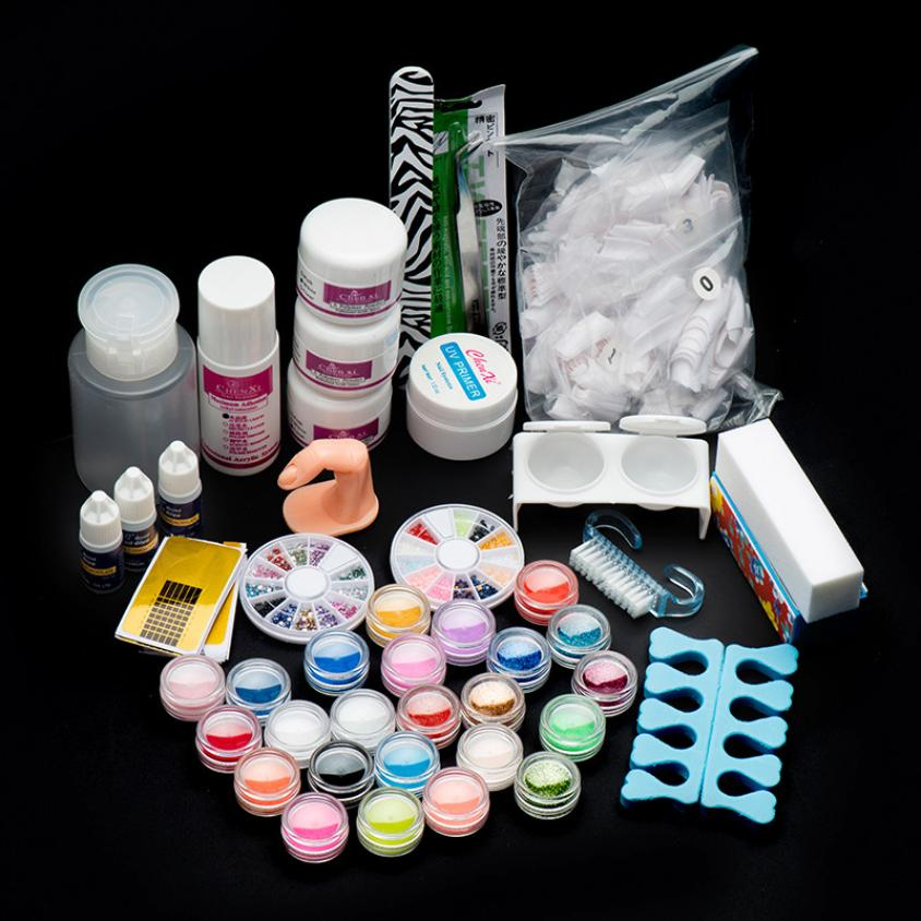 2016 HOT New Arrival 22 Acrylic Nail Art Tips Powder Liquid Brush Glitter Clipper Primer File