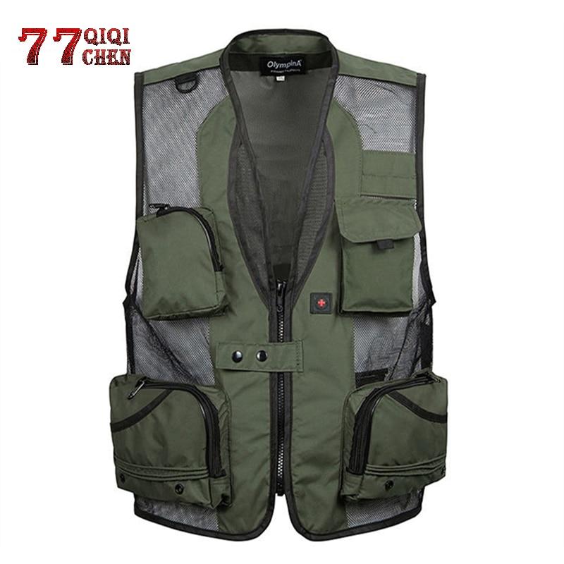 QIQICHEN Men Fast Dry reporter Vest Casual Pockets Tactical Waistcoat Summer Clothes Photography Sleeveless Jacket XL 5XL yelek