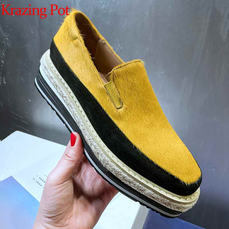 Krazing Pot horsehair square toe waterproof streetwear slip on thick bottom comfortable straw sole decoration wedges shoes L1fbKrazing Pot horsehair square toe waterproof streetwear slip on thick bottom comfortable straw sole decoration wedges shoes L1fb