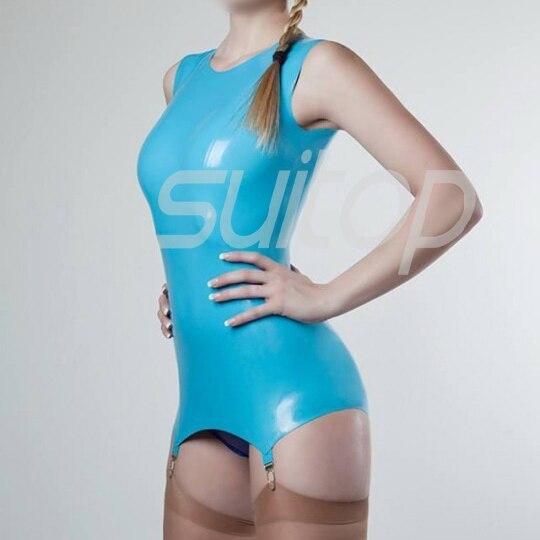 дамска рокля от латекс каучук в небесно синьо
