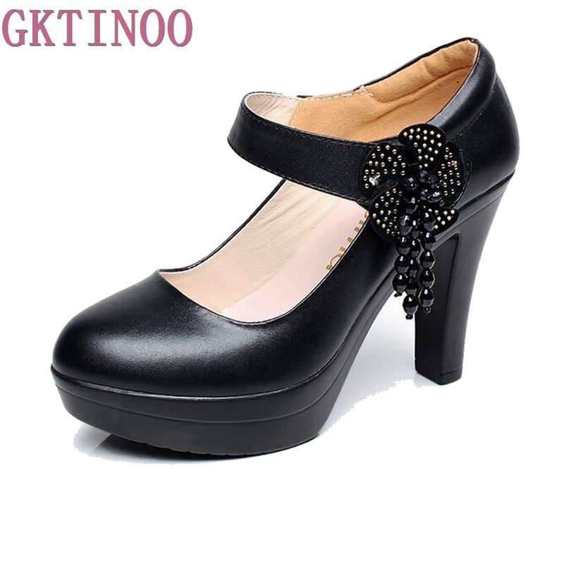 2017 New Black Women Pumps Platform Thick High Heels Genuine Leather Lady's Working Shoes Single Pumps Shoes Woman