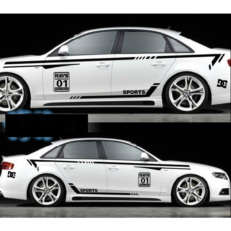 Car styling whole set for audi a4 a5 a6 a7 racing sport waist lines door decals