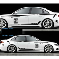 Car styling Whole set For Audi A4 A5 A6 A7 Racing Sport Waist Lines Door decals stickers Car body decoration Vinyl Stickers
