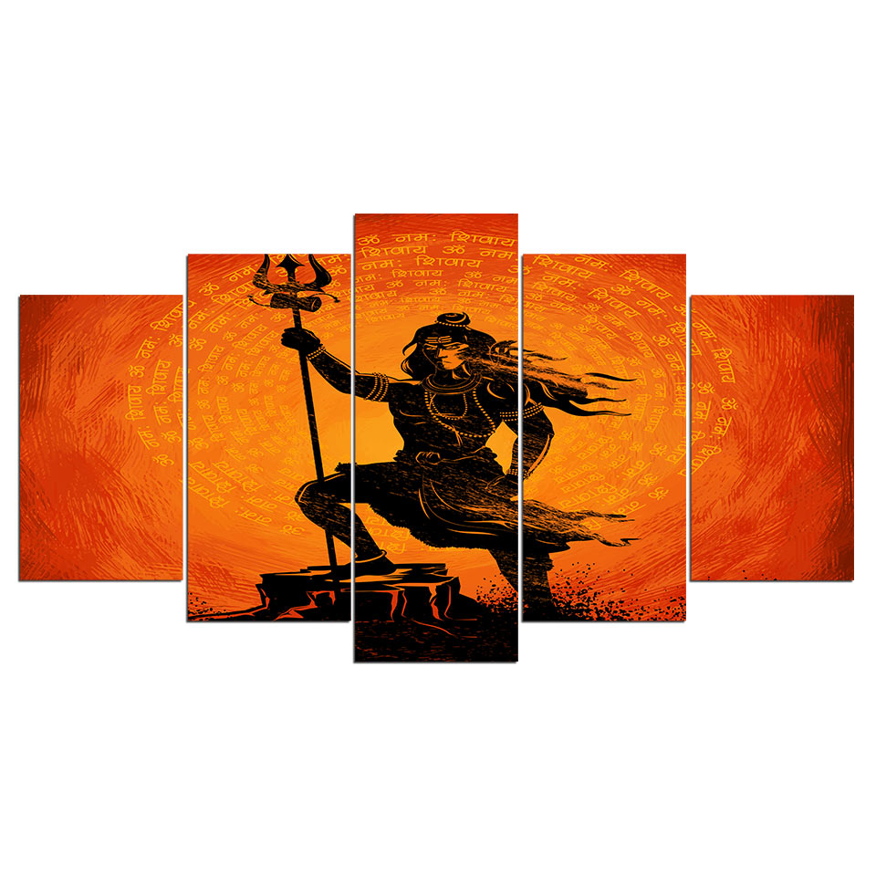 Posters and prints 5 pieces Printed Canvas Poster Lord shiva of India Picture Prints Wall Picture For Living Room Free shipping