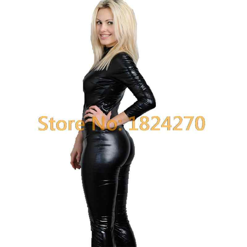 2015 caliente Sexy negro Catwomen Jumpsuit PVC Spandex látex Catsuit trajes para mujeres trajes de cuerpo fetiche vestido de cuero de talla grande XXL