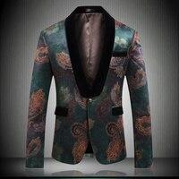 EU Popular Mens Blazer Jacket 2019 England Designer Green Nice Pattern Style Men Dress Jacket Slim Fit blazer Party 9017