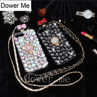 Dower Me Crystal Ring Grip Stand Full Diamond Bowknot Perfume Bottle Case Cover With Chain For Iphone X 8 7 6S Plus 5 SE 5C 4S