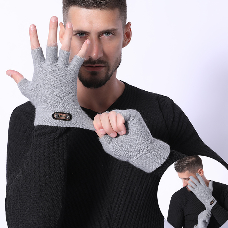 Fashion Winter Acrylic Wool Plus Plush Thick Jacquard Knit Warm Half Finger Mittens Men Full Finger Touch Screen Gloves C2