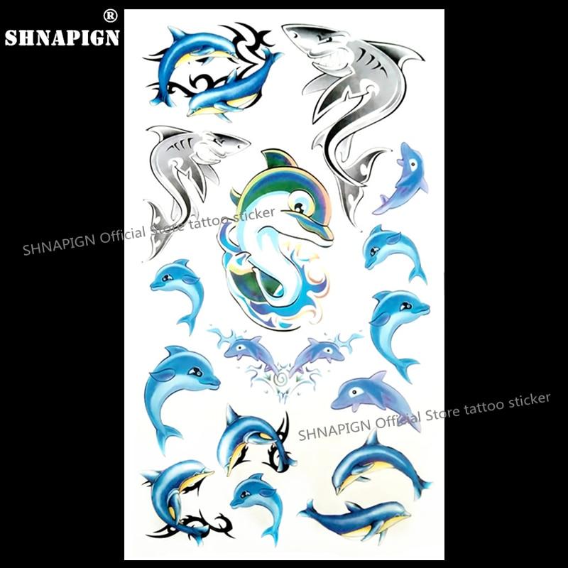 SHNAPIGN Blue Dolphins Temporary Tattoo Body Art Arm Flash Tattoo Stickers 17*10cm Waterproof Fake Henna Painless Tattoo Sticker