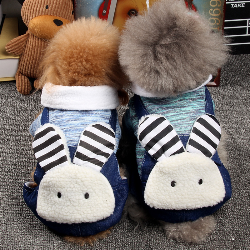 Pet Dogs Turned Clothing Funny Big Ear Rabbit Four Legs Cotton Fleece Jacket Winter Coat Hoodie Dogs Costumes For Teddy S-2XL