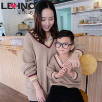Spring V neck Cotton Knit Sweater Mom and Son Matching Clothes