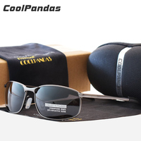 COOLPANDAS Polarized Sunglasses Men Brand Designer Retro Metal Driving Glasses Polaroid Lens For Men Outdoor Oculos