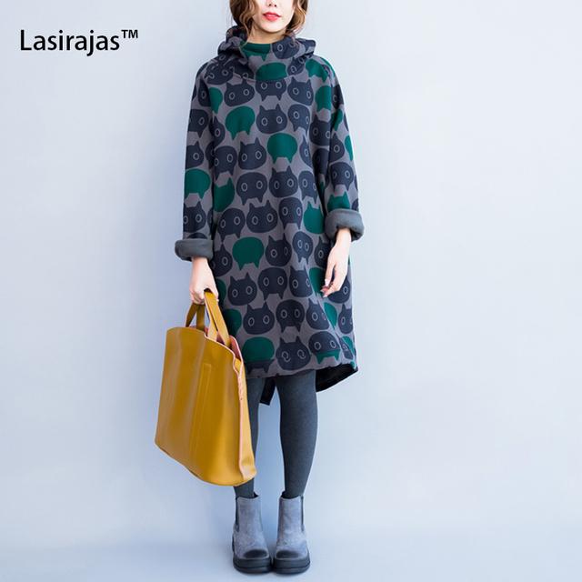 Plus size mulheres hoodies moletons inverno espessamento algodão quente manto moda feminina cat imprimir casual mulheres vestido de gola alta