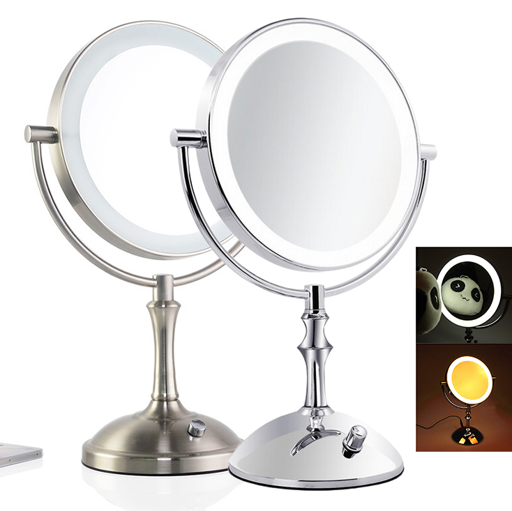 Desktop 8 Inch Makeup Mirror 2-Face Metal Mirror 3X 5X 10X Magnifying Cosmetic Mirror LED Lamp Adjust the Brightness large 8 inch fashion high definition desktop makeup mirror 2 face metal bathroom mirror 3x magnifying round pin 360 rotating