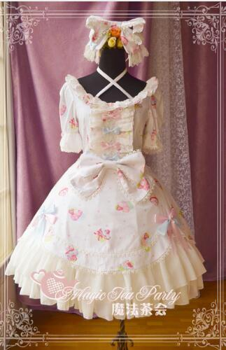 Здесь продается  Sweet Half Sleeve Multi-layered Lolita Dress with Cake Print and Bow Knot by Magic Tea Party  Одежда и аксессуары