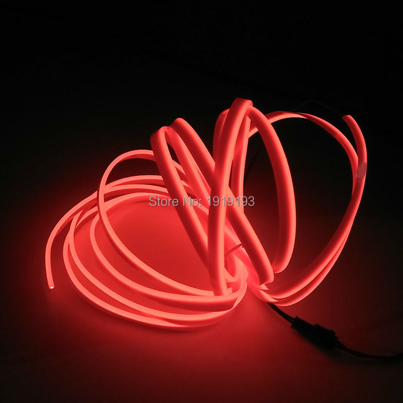 New DC-3V 2.3mm-skirt 4Meter 10 Color Select Flexible EL Wire LED Strip Neon Light tube For Car Trendy Night Party Decoration