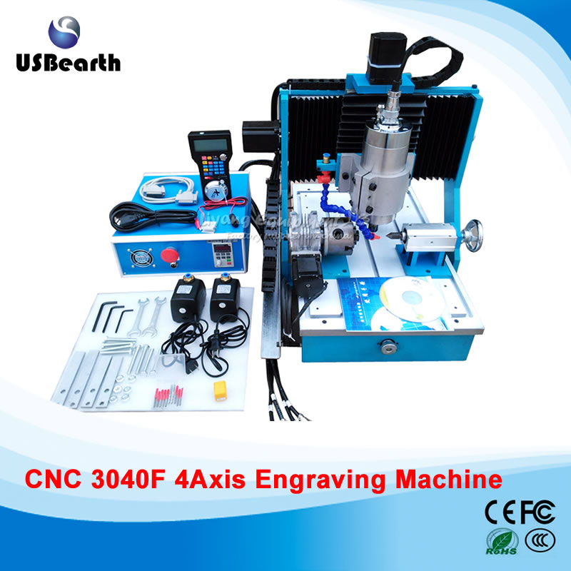 4 axis cnc machine CNC 3040F drilling and milling engraver machine wood router  with square line rail and wireless handwheel