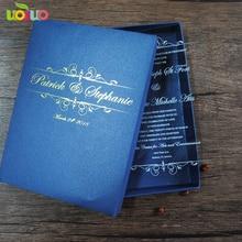 Горячая уникальная роскошная бумажная коробка для свадебных приглашений с персонализированный логотип Королевский Темно-синий цвет