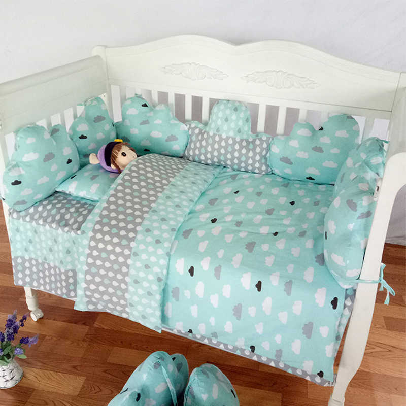 Baby Bed Bumper Cloud Shaped Infant Newborn Baby Bumper Crib Protector Famous Brand Star Print Cotton Soft Baby Bedding Set