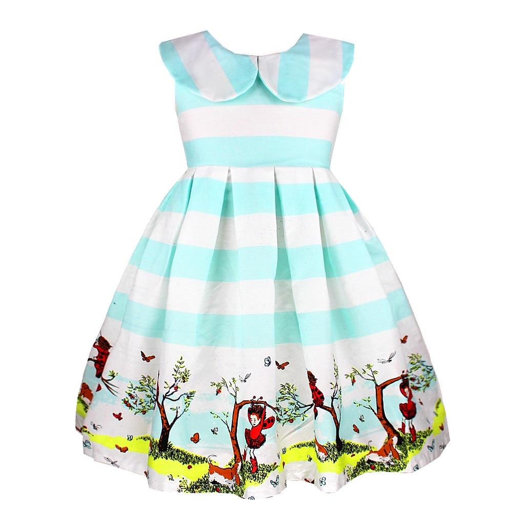 ФОТО 2016 girls sleeveless printed lapel dress baby girl dress princess dresses for toddlers wedding dress for girl kids new year