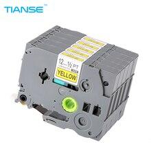 TIANSE 5pcs Tze631 Tze-631 12mm Tze Tape Compatible Brother Ptouch Printer Label Maker Tape Tz631 Tz-631 Tz 631 Black on Yellow