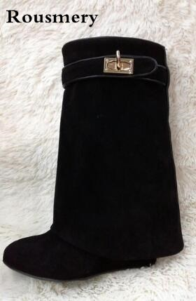 Celebrity New Fashion Suede/Leather Shoes Woman Pointed Toe Motorcycle Booties Belt Strap Metal Shark Lock Wedge Mid-calf Boots discount shark lock ankle boots woman pointed toe real leather height increasing wedge mid calf boots woman fashion short boots
